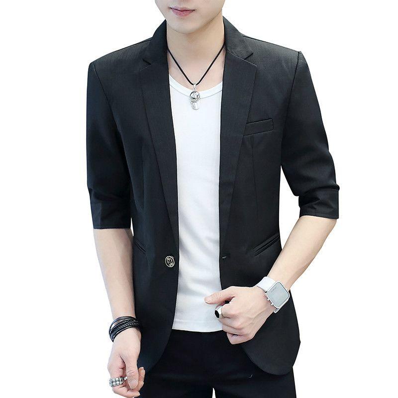 2020 Estate Uomini Blazer casuale di nuovo modo solido mezza manica Slim One-Button Blazer Mens Slim Fit Giacca Black Dress