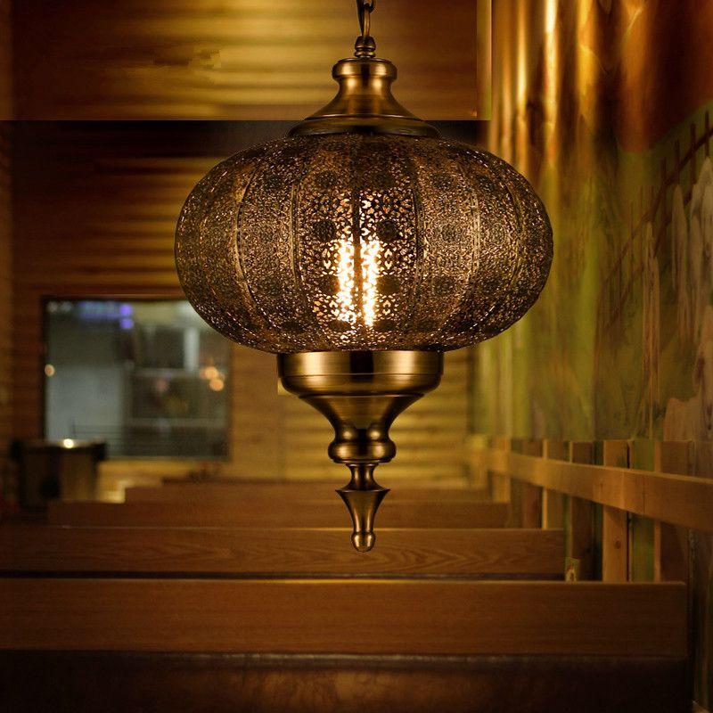 Mais novo lustre do Sudeste da Ásia Balanço Yi Luzes Pingente de Ferro LEVOU Esculpido Oco Retro Lâmpadas para Sala de Jantar Restaurante Lanterna De Lâmpada