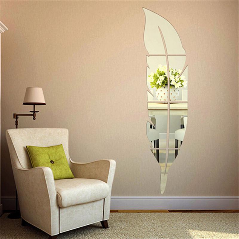 73 * 18cm Piume Wall Sticker acrilico Specchio della decorazione della casa autoadesivo Specchio per soggiorno decorazione fai da te 3D si dirigono la decalcomania Murales