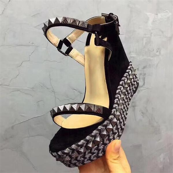 I progettisti Red sandali inferiori Cataclou zeppa sughero Scarpe Donna Espadrille pompa estate sandali d'argento glitter in Platform Sandals US9