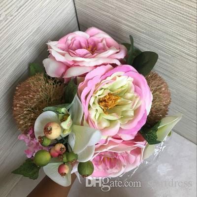인공 모란 웨딩 꽃다발 저렴한 인공 실크 신부 들러리 신부 부케 꽃 수국 해먹 핑크 봄 웨딩 꽃 모란