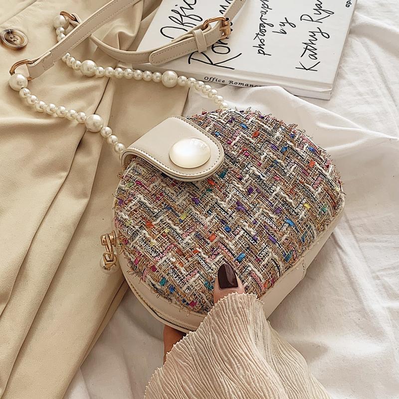 Сумка мода мини-2019 элегантное круглое качество новое высокое плечо женские шерстяные мессенджер жемчужный цепь женской сумки сумка Olerp