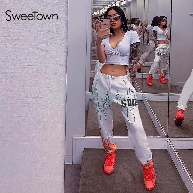 Sweetown White Flaming Fire Printed Streetwear Pants Women Korean Style Elastic High Waist Sweatpants Baggy Pants Summer Autumn