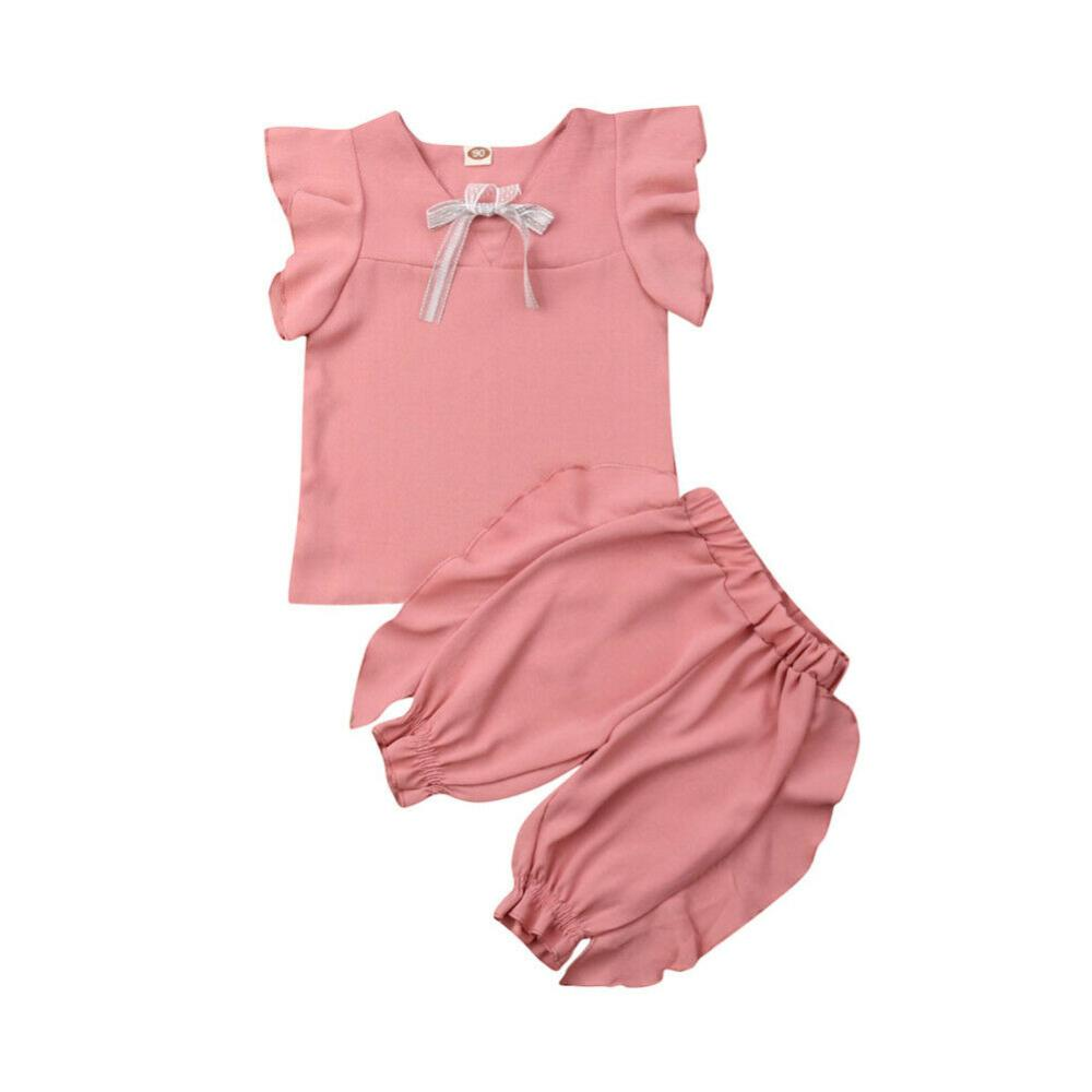 Pudcoco Brand New Toddler Baby Girls Bowknot Flying Sleeve Top+Princess Short Pants Outfits 2pcs