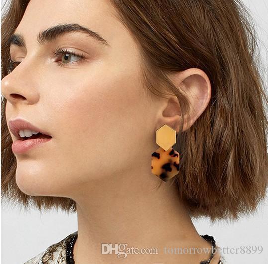 Tortoise Shell Earrings for Women Girl Boho Jewelry Acrylic Resin Hoop Earrings