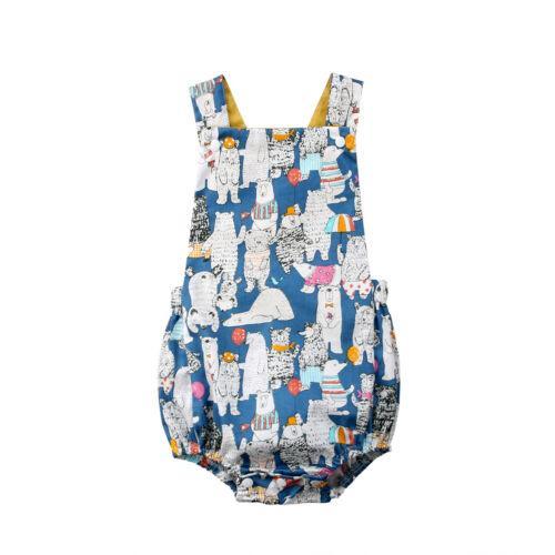 Yenidoğan Bebek Erkek Kız Ayı Baskı Yaz Romper Jumpsuit Giyim Kıyafetler