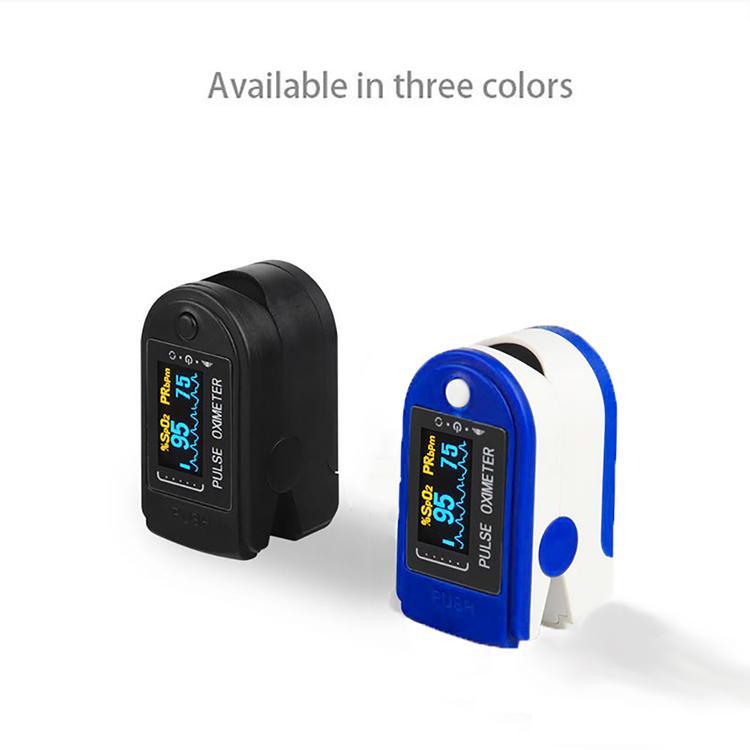 Oxímetro de pulso com maleta Ponta do dedo Saturação de oxigênio keine sangue e Monitor de batimentos cardíacos Monitor LED Azul Preto