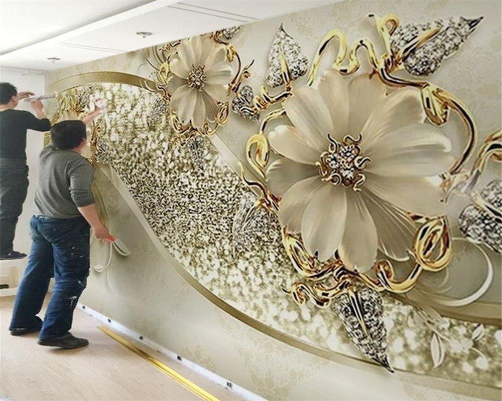 الكلاسيكية مخصص جدارية ورق الحائط الذهب 3D ستيريو نمط المجوهرات الأوروبية خلفية TV PAPEL دي parede 3D ورق الجدران