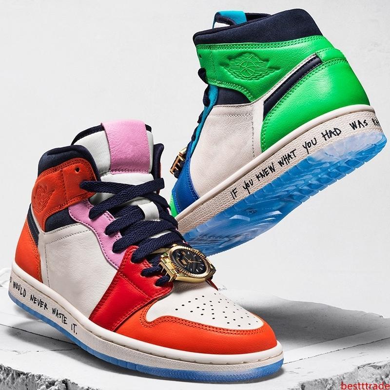 2020 Melody Ehsani x 1 zapatos Mediados WMNS Sin Miedo Mujeres de baloncesto del Mens del reloj de encaje joya 1s diseñador zapatillas CQ7629-100 EUR36-45