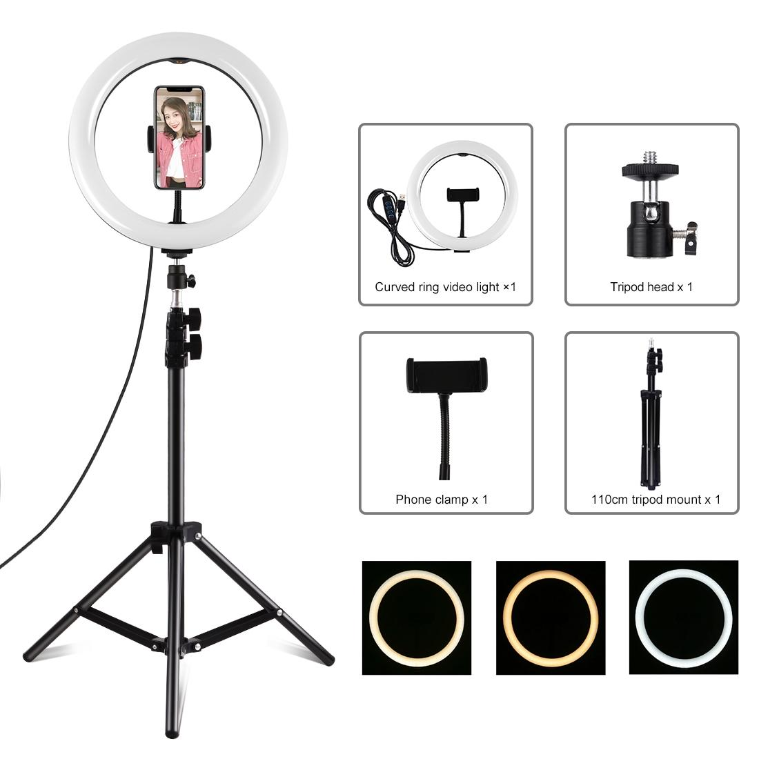 PULUZ 10.2 inch 26cm Dual Color Temperature LED Curved Diffuse Light Vlogging Selfie Photography Video Lights with Phone Clamp