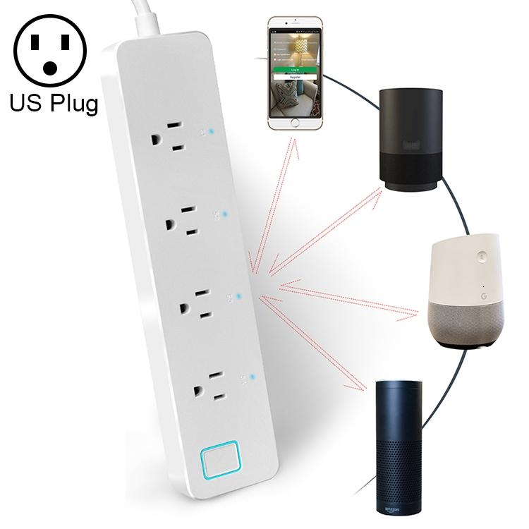 10A Home Smart WiFi Power Strip Surge Protector 4 Outlet Wireless Power Extension Socket, Support APP Operation & Timing Switch, US Plug