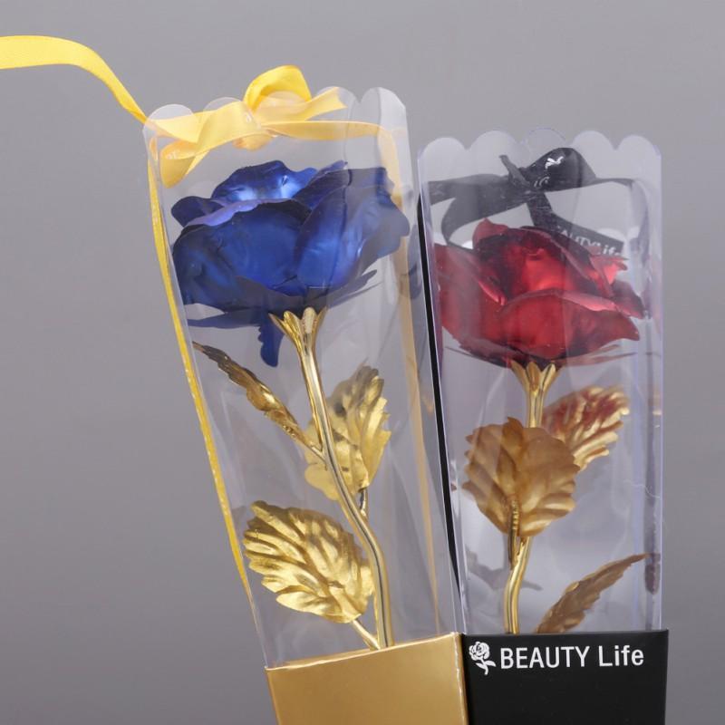 Favorisiert Künstliche Blumen Rose Gold Muttertag Valentinstag Geschenk 24 K Goldfolie Blumen Für immer Liebe Hochzeits-Dekoration