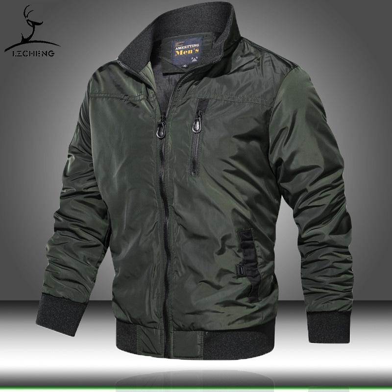 Verde Army Mens Jacket Mens Bomber Casual Jackets Masculino Outono Inverno Streetwear Coats Man Sólidos Zipper Windbreaker