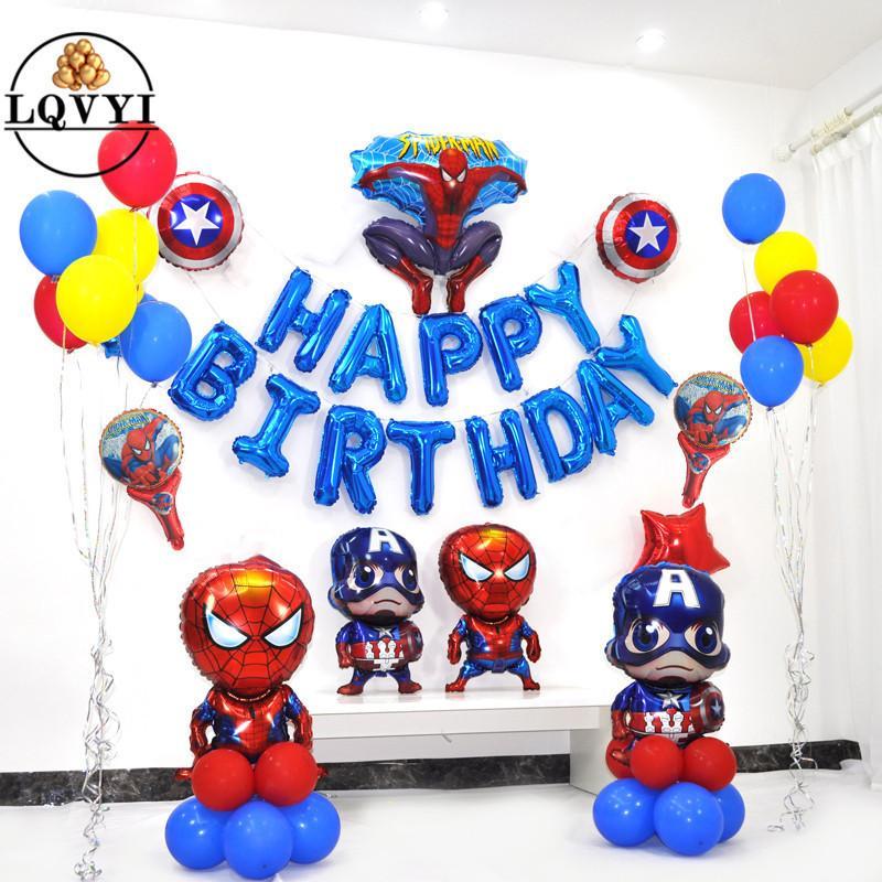 41 pz / lotto Spiderman Foil Balloons Felice Brodday Capitan America Hero Palloncino Per Bambini Decorazione Festa di Compleanno Giocattoli Air Ballon Q190524