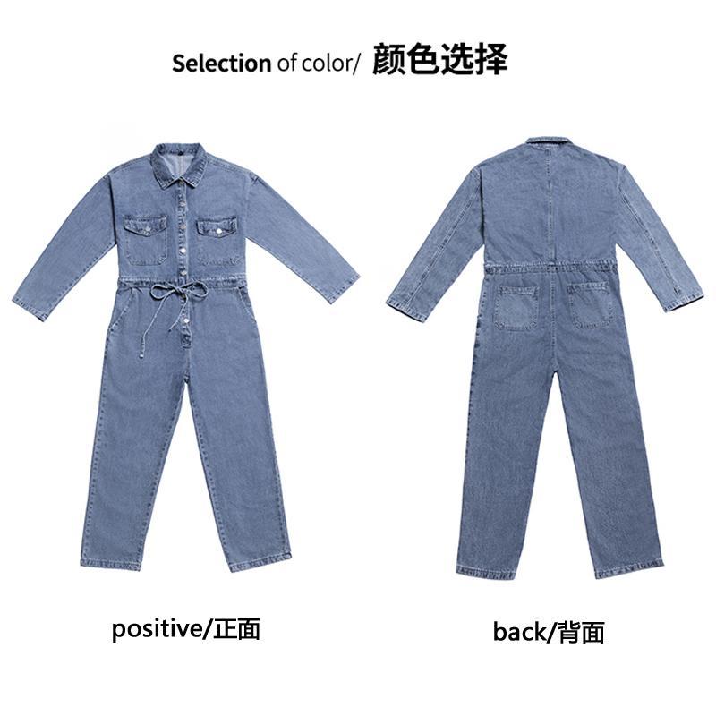 Весна и летние комбинезоны брюки брюки отвороты элегантные синие длинные брюки комбинезон женщин мешковатые комбинезоны джинсовые джинсы ползунки