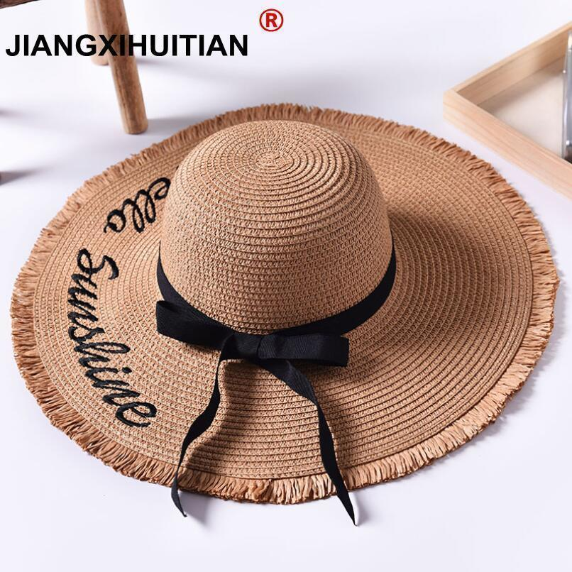 Handmade Weave letter Sun Hats For Women Black Ribbon Lace Up Large Brim Straw Hat Outdoor Beach Summer Caps Chapeu Feminino D19011103
