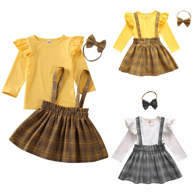 US Summer Newborn Infant Baby Girls Clothes Tops Plaids Shorts Overalls Outfit