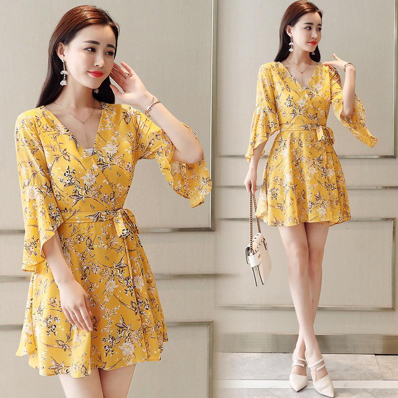 Les femmes en mousseline à moitié manches 2019 nouvelle robe d'été robe de fleurs hachées V-collier robe en mousseline de soie jaune vert 202J3