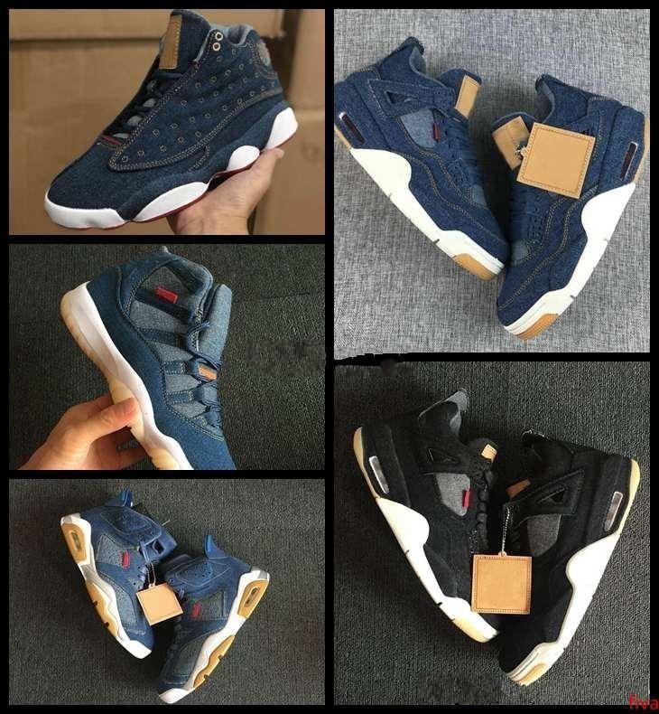 2019 nuovi pattini 4 6 11 13 Denim LS Travis pallacanestro degli uomini Mens Blue Jeans 4s 11s 13s Sneakers progettista Jumpman Chaussures allenatori sportivi