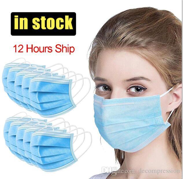 Einweg-Gesichtsmasken 3 Schicht-Ear-Loop-Staub-Mund-Masken-Abdeckung 3-Ply Non-woven Einweg-Staubmaske weiche atmungsaktive Outdoor-Teil dhl