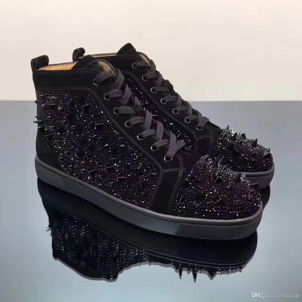 Siyah Strass Pik Pik Dikenler Kırmızı Alt Lüks Tasarımcı Erkek Strass Sneaker Moda Yürüyüş Elbise Düğün Casual Dantel-up Boş Ayakkabı