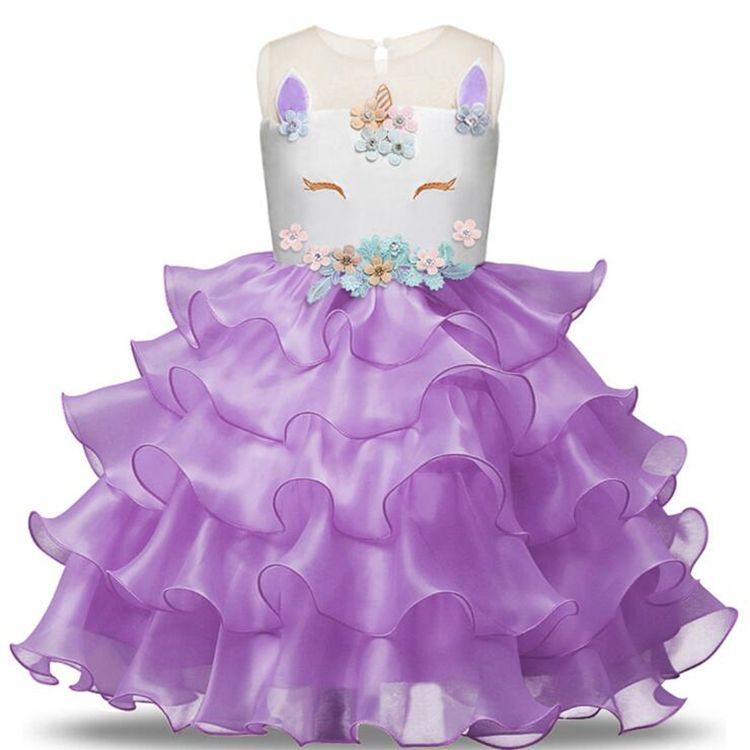 6 стилей Unicorn для девочек платья девушки Princess платья девушки цветка для свадьбы детей дизайнер одежды девочек JY15