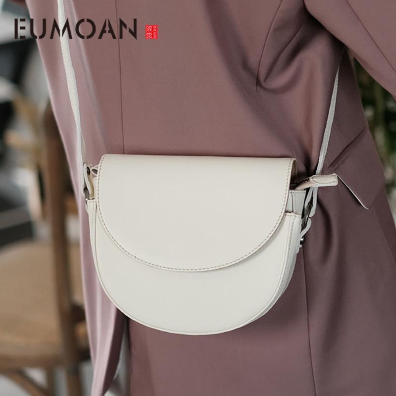 EUMOAN Deri bağbozumu eyer torbasını koyun derisi, beyaz yarı yuvarlak stiletto çanta, bayan moda tek omuz çantası