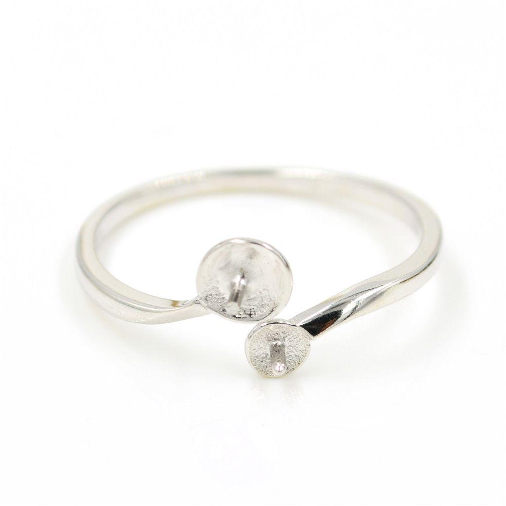 Оптовая продажа S925 стерлингового серебра кольцо крепления двойной Перл кольцо дизайн для женщин ювелирные изделия из жемчуга diy бесплатная доставка регулируемое открытие