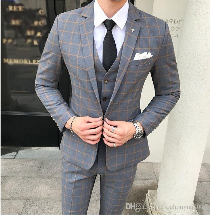 Мужские костюмы с брюками бордовый ретро плед Slim Fit Формальное свадебное платье смокинг костюмы 5XL на заказ 3 шт костюм жилет