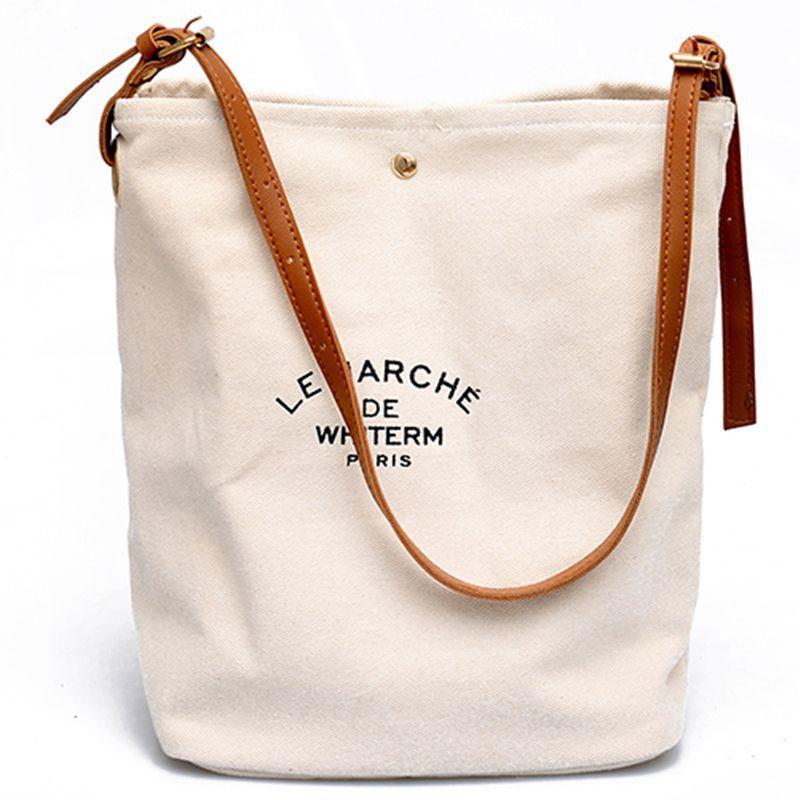 Donne delle borse dei sacchetti di spalla casuale Ambiente amichevole Lettera portatile modello Borse Student Shopping Bag Brown