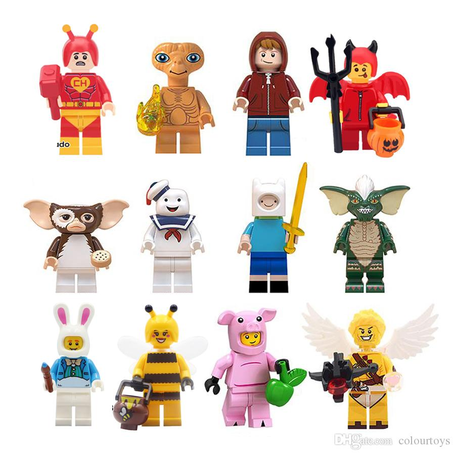 Yapı Taşları Gizmo Çizgili Pembe domuz ET Finn Stay Puft DIY çocuklar için sevimli gif'ler oyuncaklar Şekil