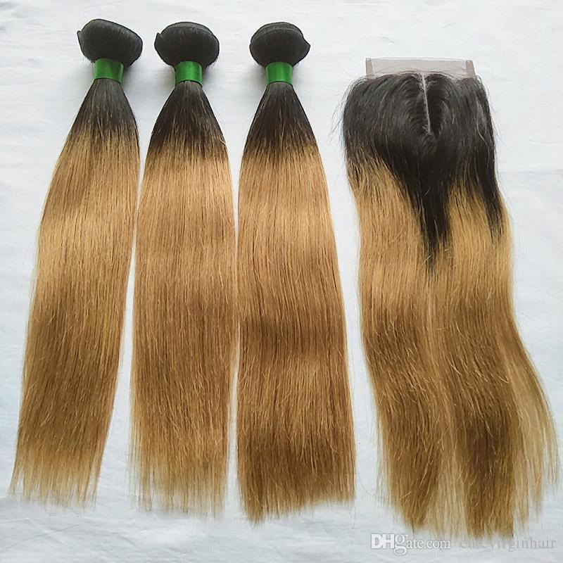 T 1B 27 Ombre Colored Hair Bundles with Closure Brazilian Straight Human Hair Ombre Blonde 3 Bundles with 4x4 Middle Part Lace Closure