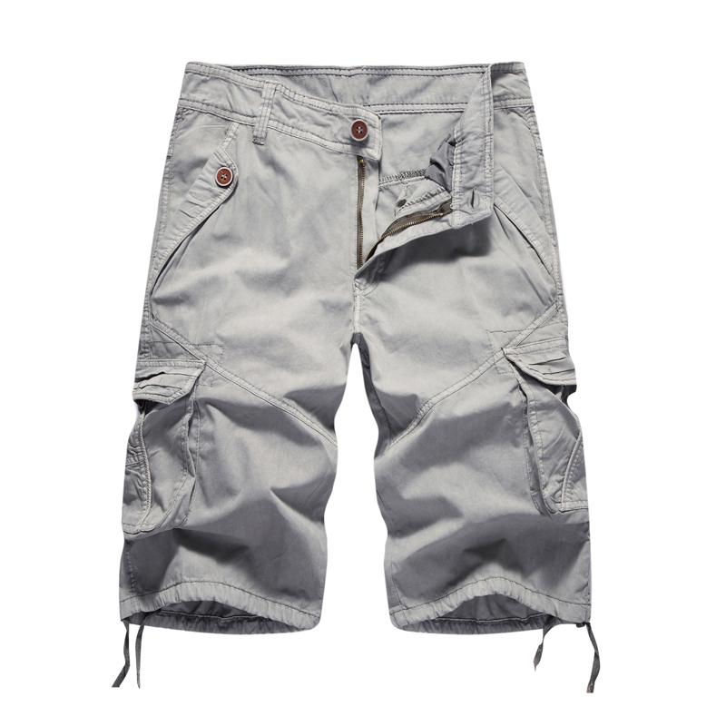 Cargo Shorts Men 2019 Summer Solid Army Military Shorts Homme 100% Cotton Soft Fashion Brand Clothing 30-40 Drop Shipping Y19042604