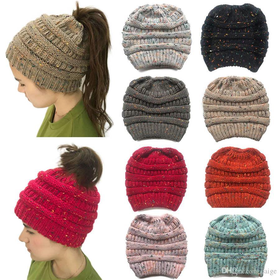 Fashion Women's Winter Warm Crochet Beanie Cap Rabbit Fur Pom Knit Skull Hat Gray Beautiful knitted winter hat