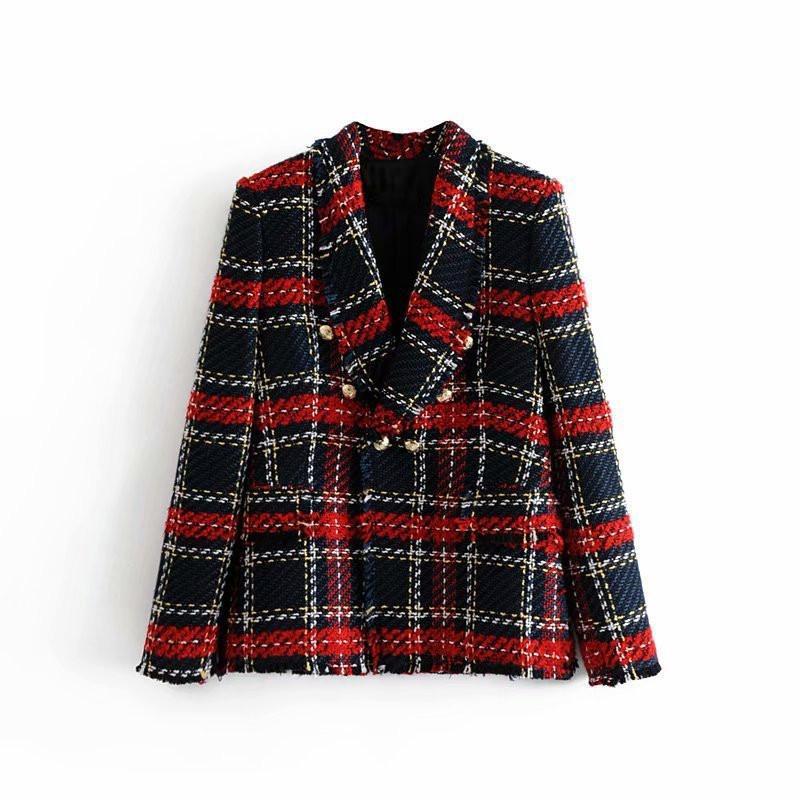 Fashion Vintage Women Patchwork Plaid Tweed Jacket Double Breasted Pocket Long Sleeve Female Coat