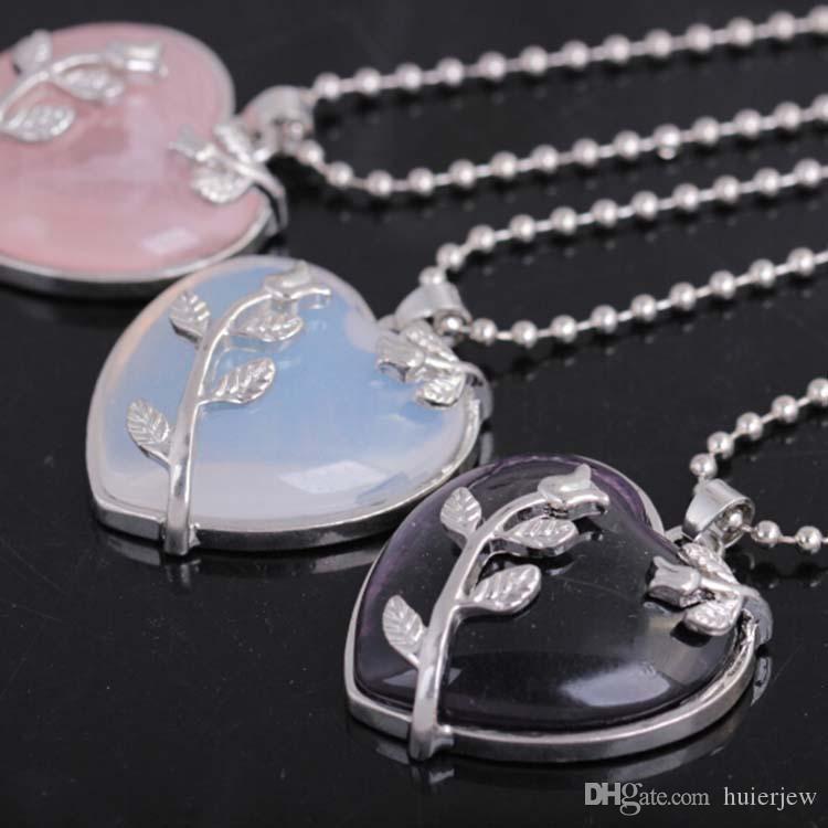 Naturstein Halskette Langkettige Halskette Kupfer Echte Liebe Herz Edelstein Schmuck Rose Flower Leaf Anhänger Halskette