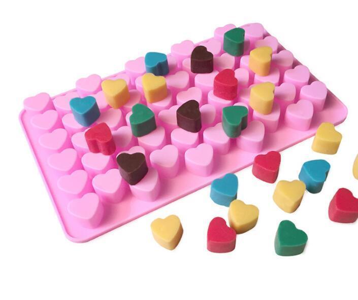 السيليكون قوالب الشوكولاته شكل قلب 66 الثقوب كعكة قالب السيليكون السيليكون الجليد علبة جيلي قوالب الصابون قالب الكعكة أدوات خبز 11x18.5x1.4cm