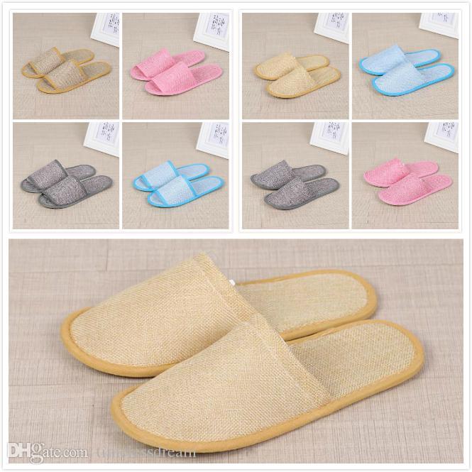 Pantoufles jetables en lin de coton anti-dérapage Hôtel Spa Accueil Chaussures d'hôtes Coloré Pantoufles Sandales Sandales Solles respirantes