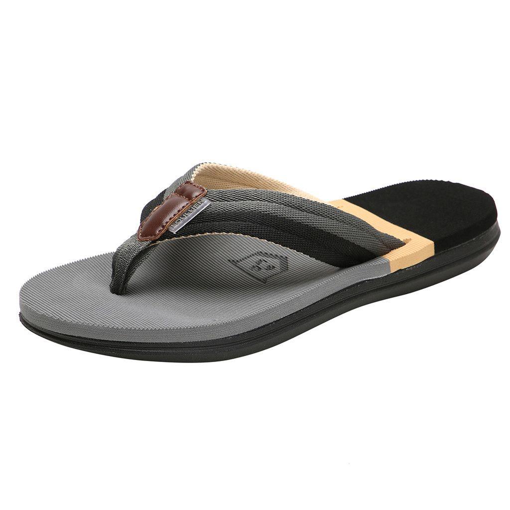 SAGACE Men's fashion casual flat flip-flops beach shoes outdoor non-slip shoes beach casual feet non-slip slippers