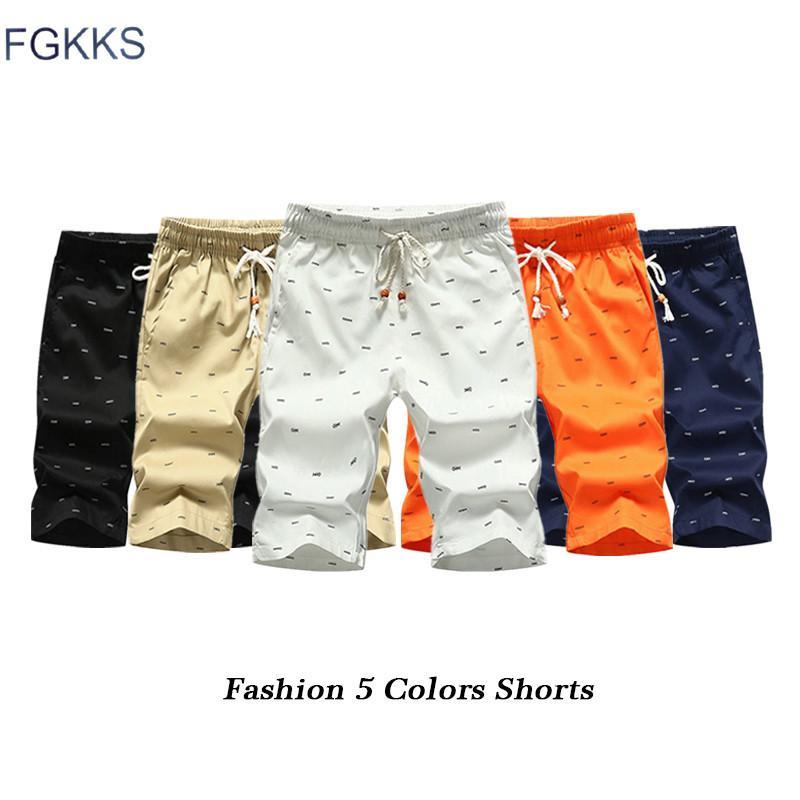 FGKKS Moda Marka Erkekler Şort 2019 Yaz Erkek Nefes Balık Kemikler Baskı Şort Erkek Casual Bermuda Kısa Y200511