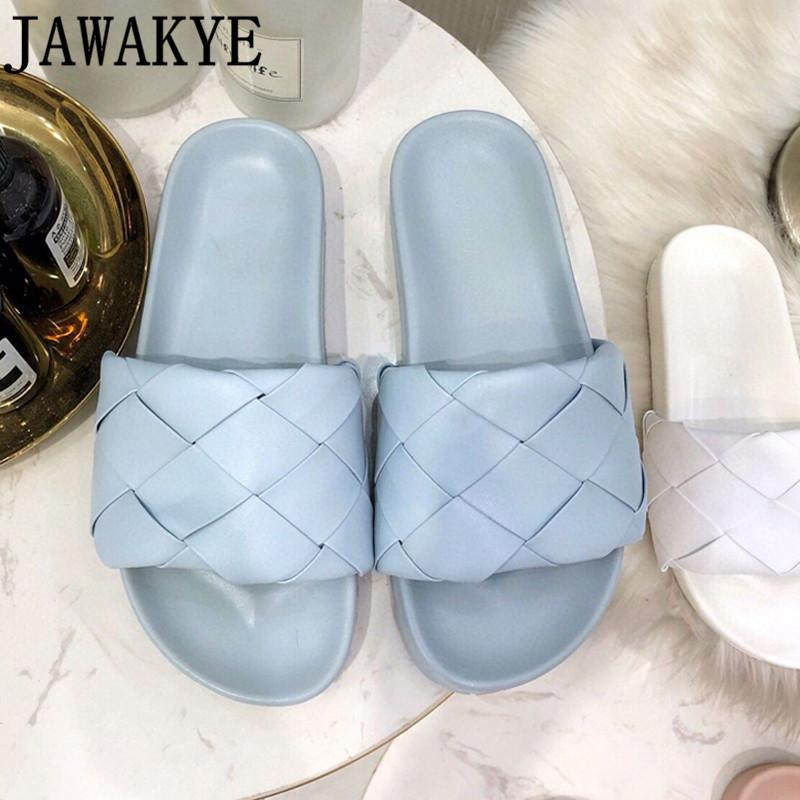 New Diamond woven flip flops Leather mules Flats Slippers Women Summer blue white Flat Sandals Runway Beach Shoes lady Mules