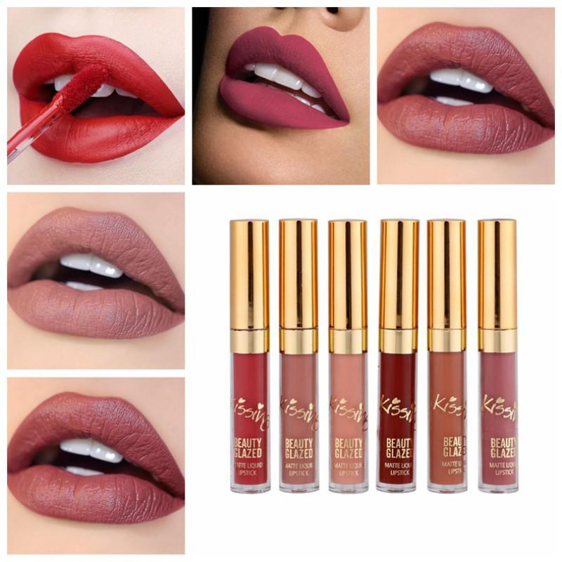 Hot Set Matte Shimmer Líquido Lip Gloss Alta Saturação Cor Batom Kits Maquiagem Lipgloss Longa Duração Cosméticos
