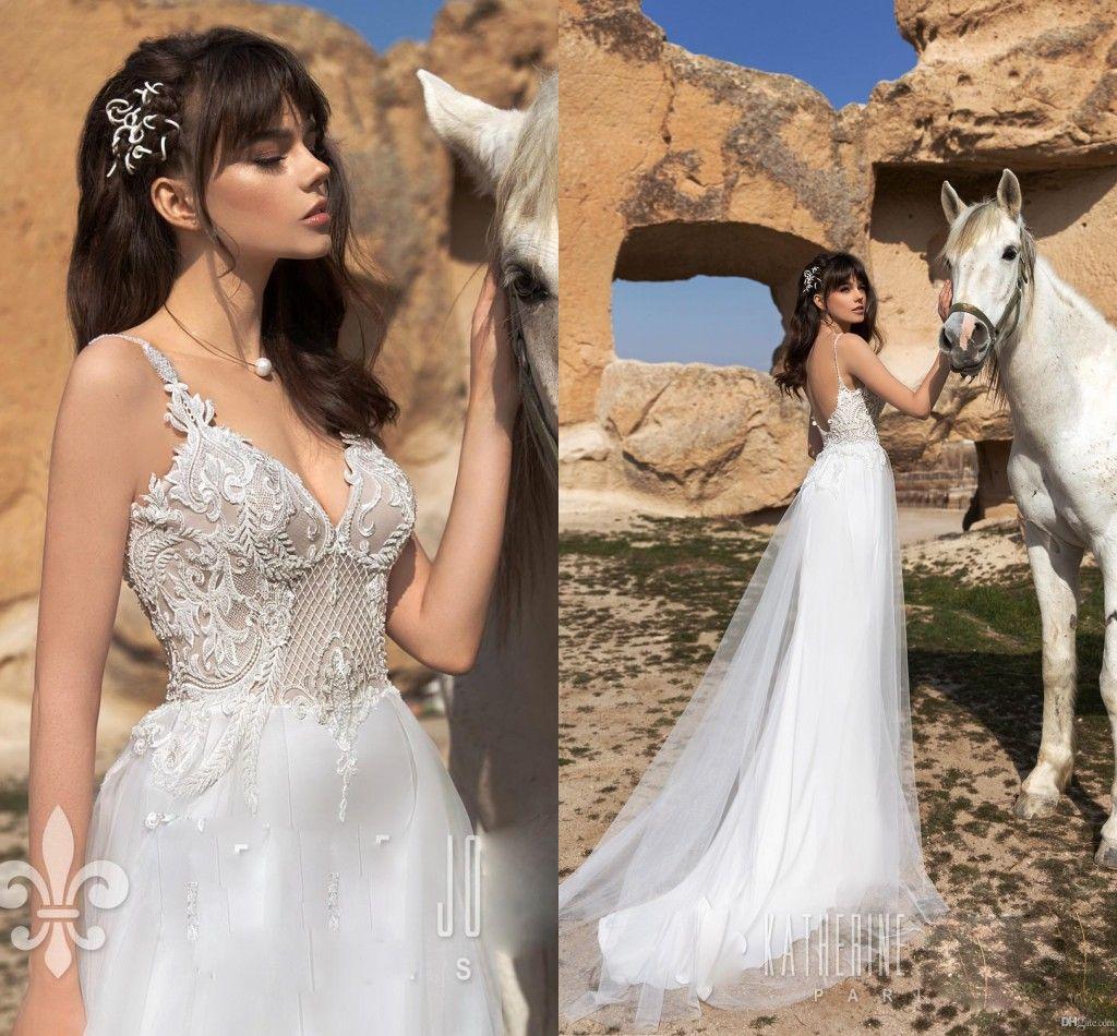 2019 Laec Aplliqued A-line Wedding Dress Cheap Long Spaghetti Backless Beach Boho Bridal Gown Plus Size Bohemain Bridal Dresses