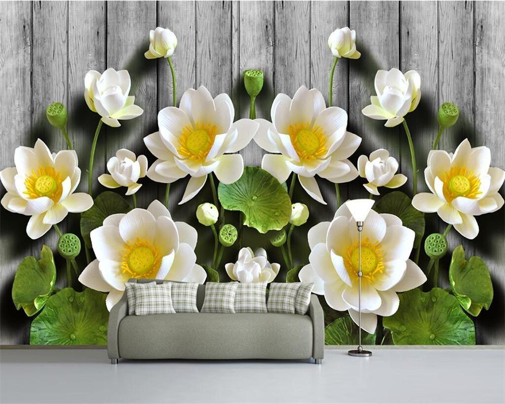 Diantu personalizada papel tapiz verde alivio de loto madera de grano 3d tv paredes del fondo del sofá del dormitorio sala de murales del papel pintado 3D que viven