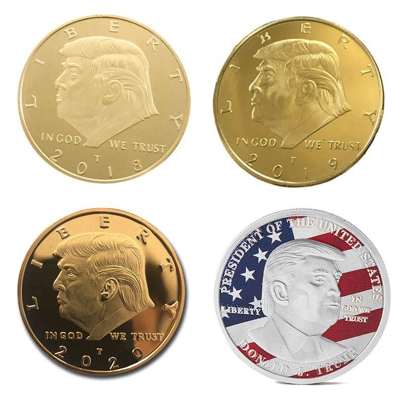 دونالد ترامب عملة تذكارية 2018-2020 الرئيس الأمريكي الانتخابات العامة عملات ذهبية فضة شارة معدنية الحرفية 4 أنماط