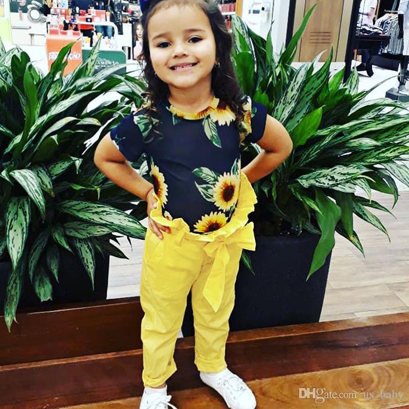 T-shirt à manches courtes pour enfants avec impression de tournesol pour fille + pantalon à jambe large jaune 2PCS pour 1-6T