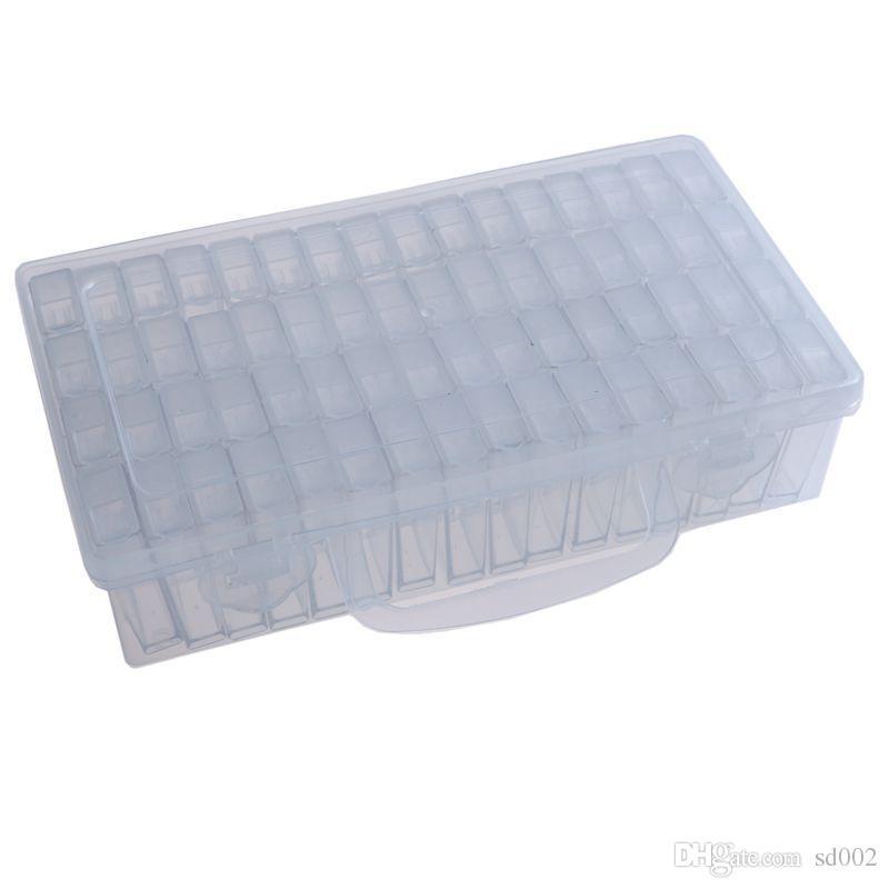 Portable 64 Lattice Bead Storage Box High Quality Practical Nail Beads Transparent Plastic Case Hot Sale 23jt Ww