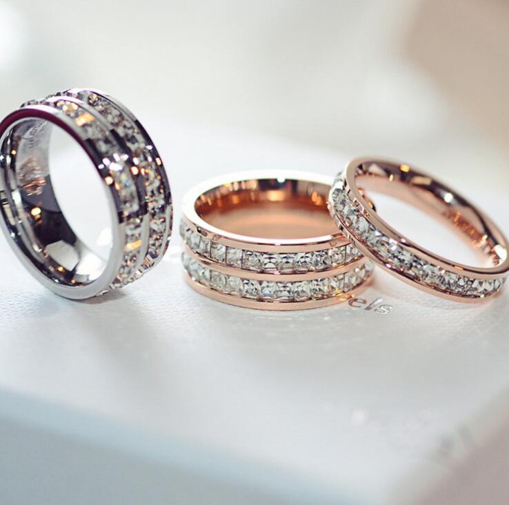 Titane Anneaux en acier inoxydable pour les femmes bijoux pour hommes cubiques Argent Or Rose Zircon Bagues avec CZ cristal de diamant