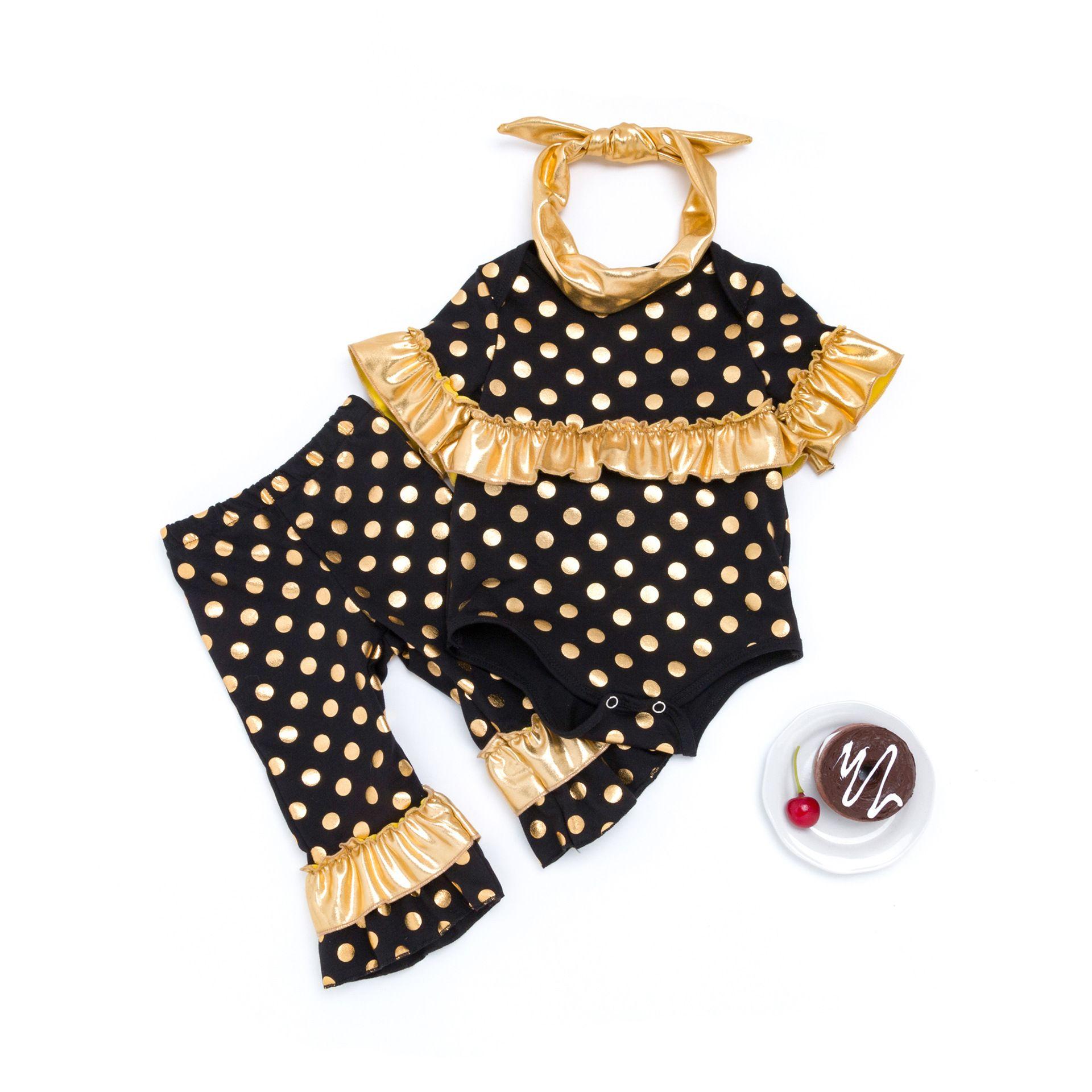 الأزياء طفلة الخريف الملابس مجموعات 0-24M الوليد الرضع مصمم الأسود الترتر الكشكشة رومبير بذلات القطن رومبير + سروال + العصابة = 3PCS / مجموعة