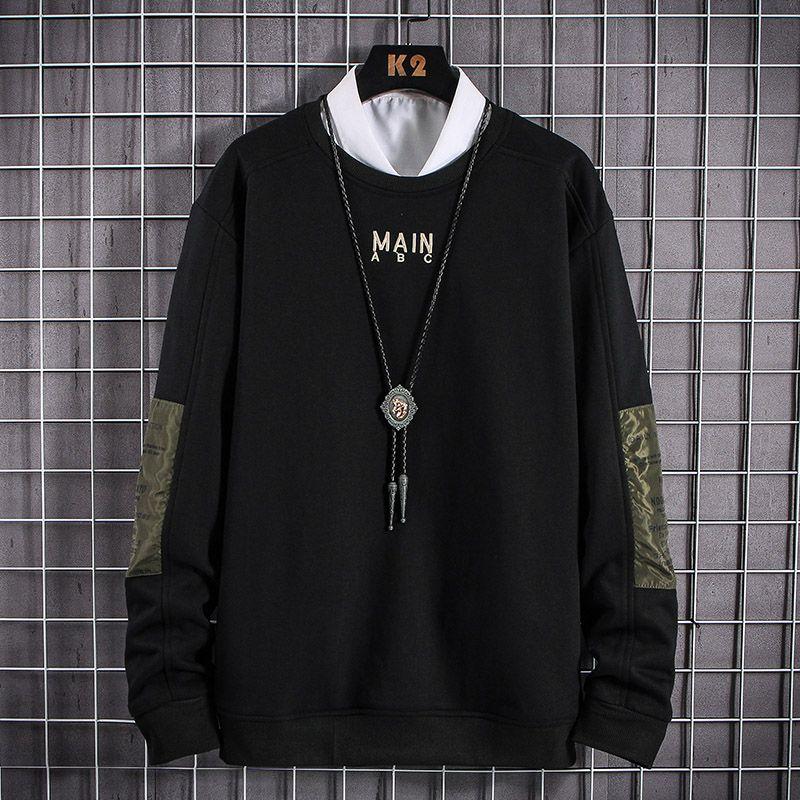 EL BARCO Männer Hoodies Sweatshirt Frühling Baumwollbeiläufiges Tops Mantel O-Ansatz Schwarz Khaki Male Jacke Weiche Harajuku Weiß Pullover Hemd